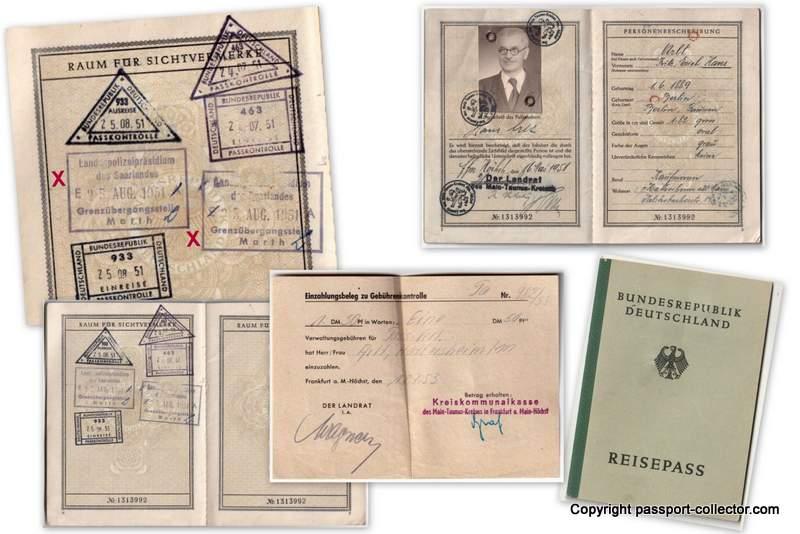 German passport border stamps