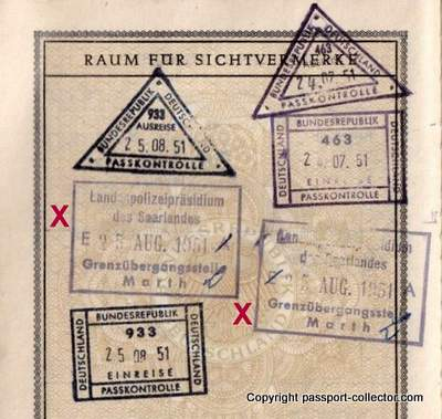 A German passport with unusual border stamps