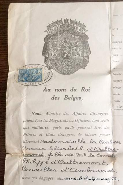 Belgian Passport 1927 Countess Marie Elisabeth d'Oultremont