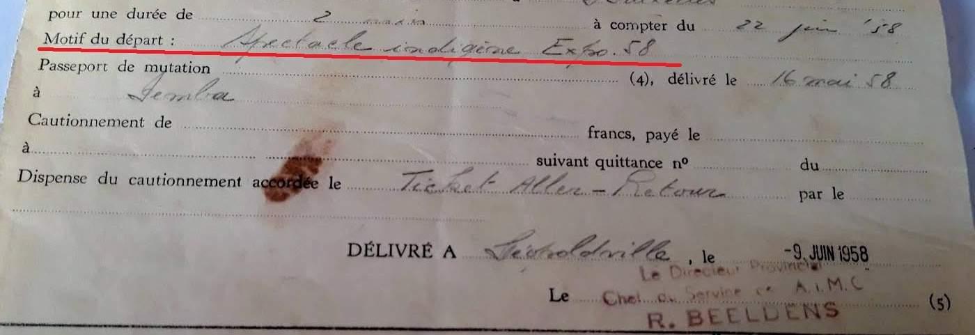 passport belgian congo 1958 detail