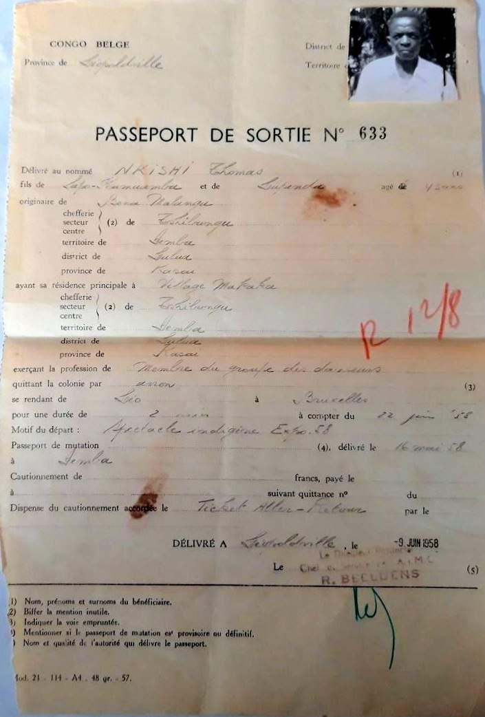 passport belgian congo 1958