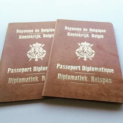 Belgium Diplomatic Passports Gilbert Mullie and wife 1954