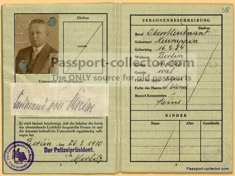 Ferdinand von Bredow passport