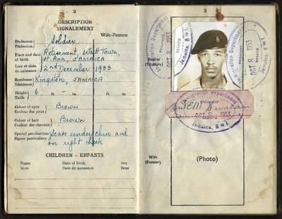 British Jamaica passport 1953 for a soldier
