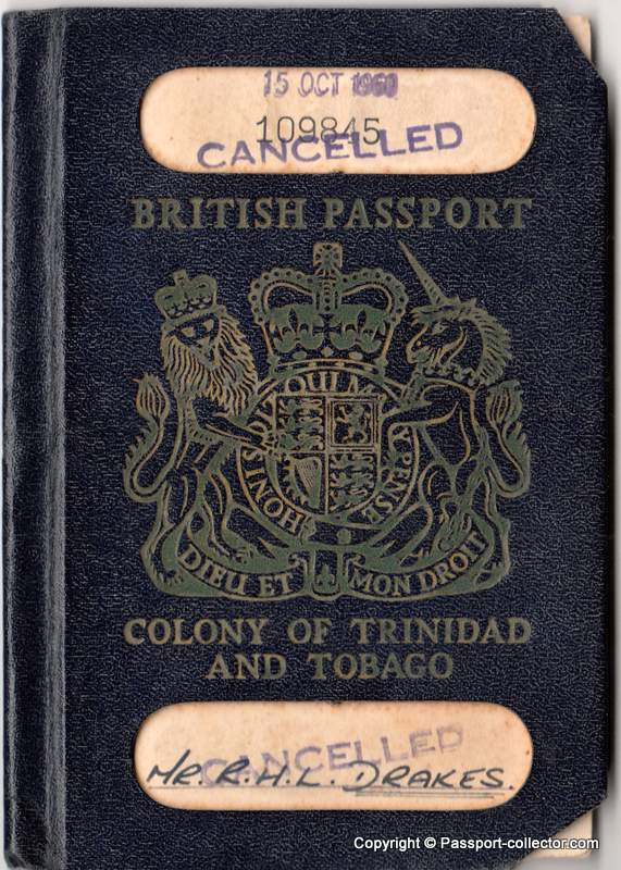 British Passport - Colony Of Trinidad & Tobago 1960 - Aircraft Engineer