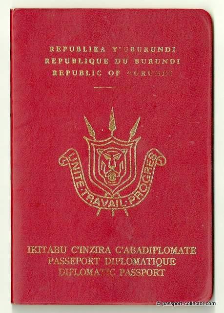 Burundi diplomatic passport cover