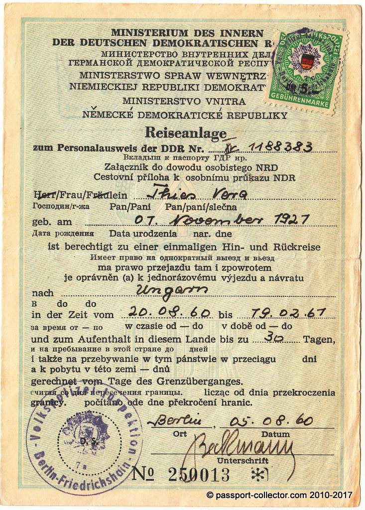 Attachment to GDR ID cars 1960