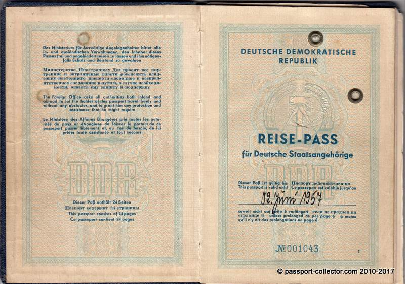 One of the earliest German Democratic Republic passports