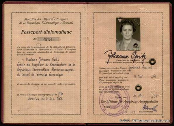 GDR Diplomatic Passport COMECON