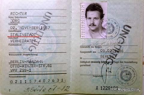 GDR ID-Card Stalinstadt (DDR-Museum in Pirna)