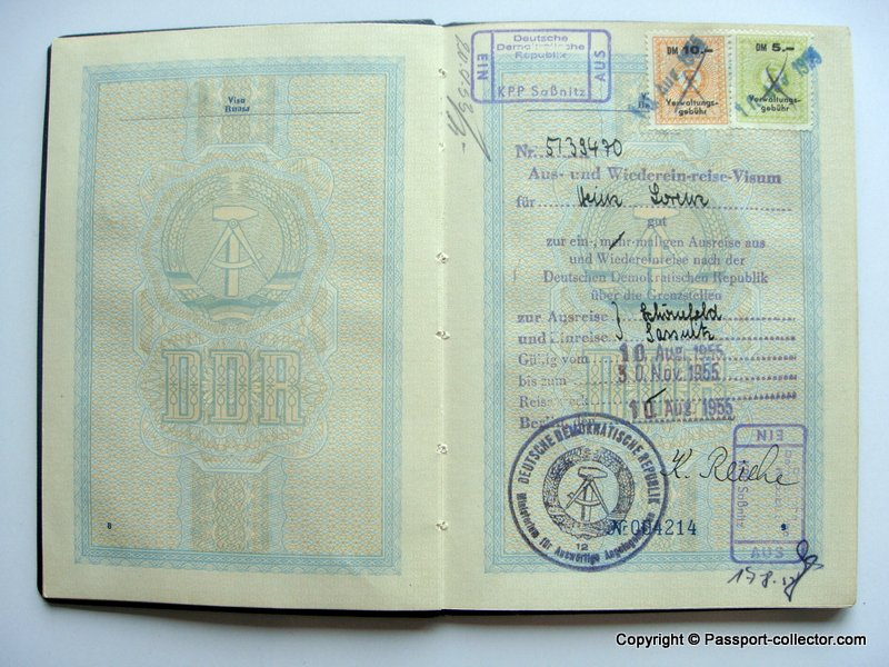 East German Passport 1955 - One Of The First
