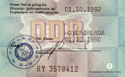 This passport is possibly the very last one issued by the GDR (DDR)