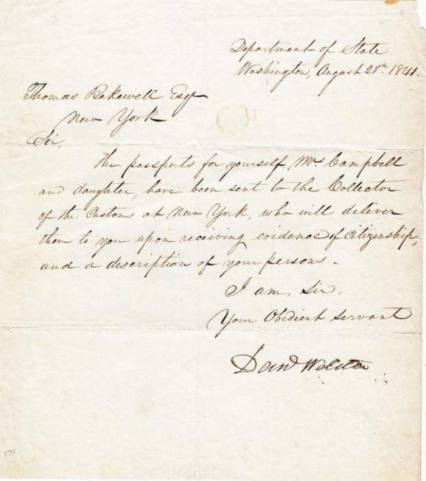 Webster letter 1841