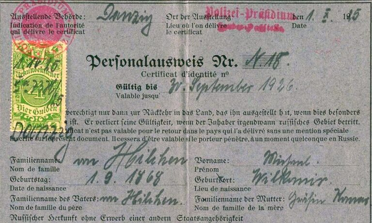 Nansen Passport 1925 – Free City Of Danzig