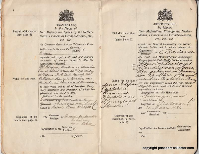 Dutch East-Indies passports