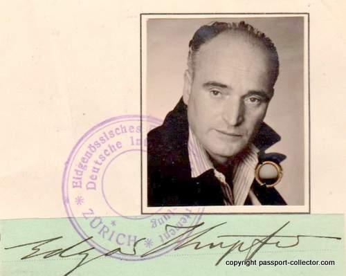 Edgar Kupfer-Koberwitz Passport, Zurich 1948