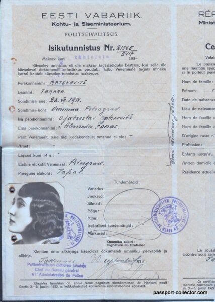 Estonian Nansen Passport For A Beautiful Woman