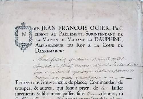 Passport French Ambassador Copenhagen 1757