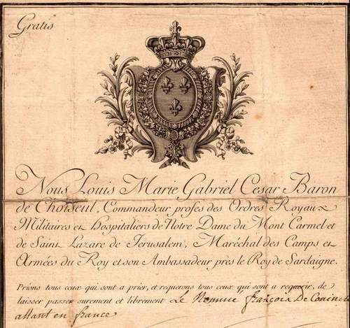 French passport 1789 for a Belgian Diplomat