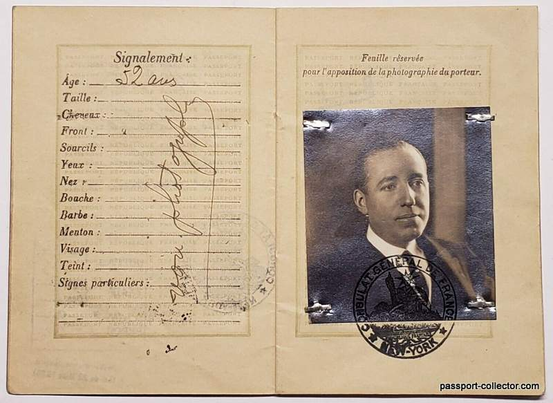 Pierre Cartier's French passport