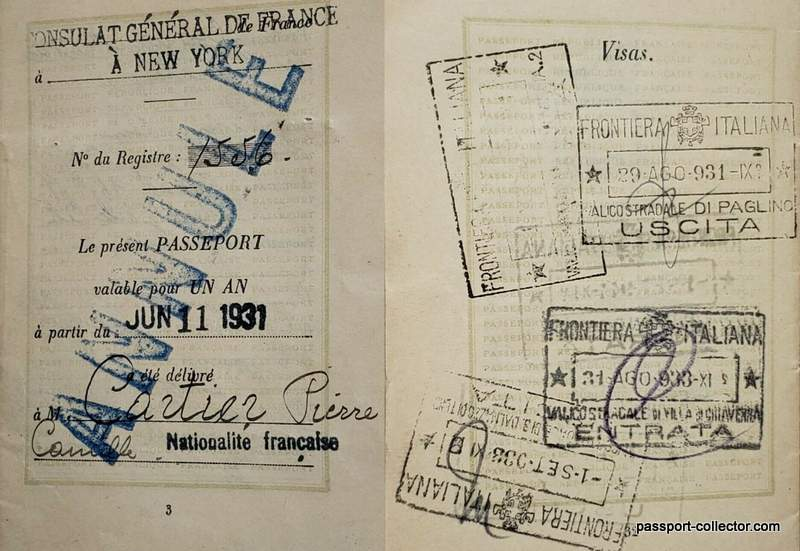 Pierre Cartier's French passport