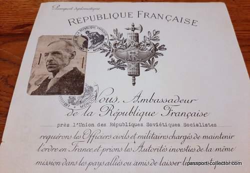 Vichy Diplomatic Passport – Ambassador Labonne