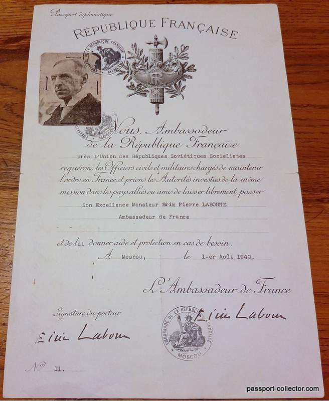 Vichy Diplomatic Passport Labonne