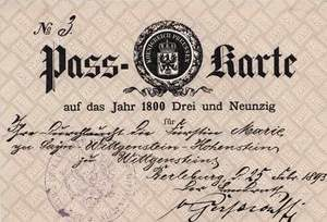 ID-card of German Princess Marie zu Sayn-Wittgenstein