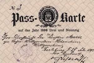 ID-card of German Princess Marie zu Sayn-Wittgenstein