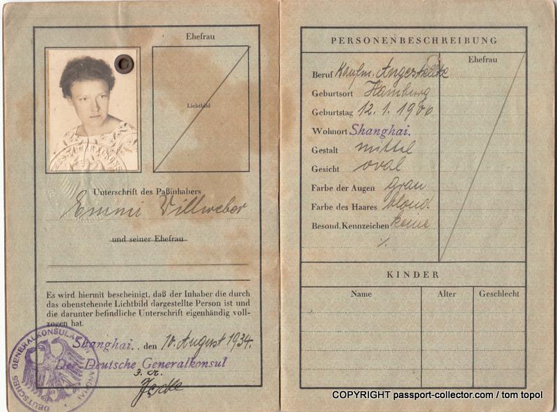 Emmi Willweber's passport issued in Shanghai 14 August 1934