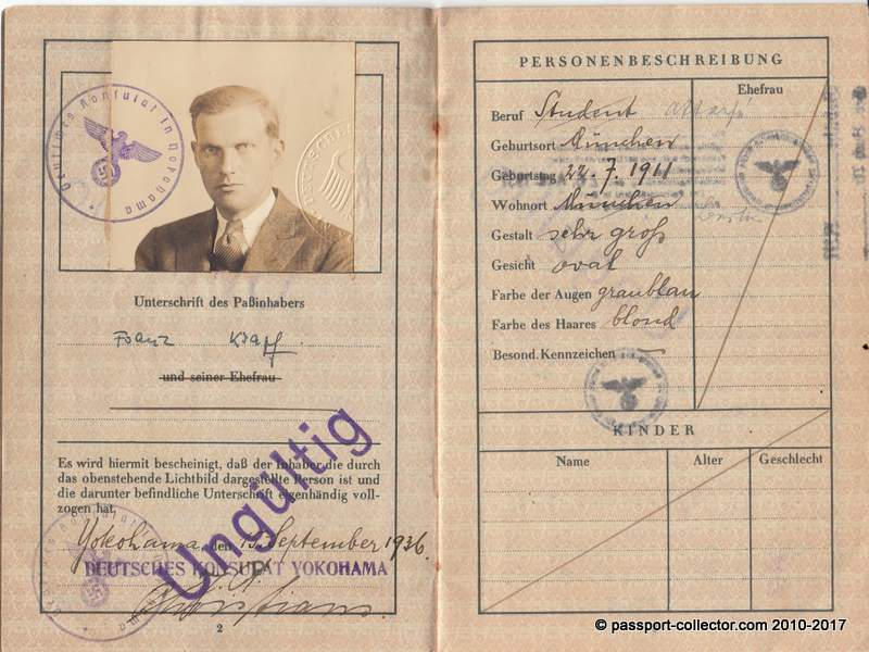 German passport issued 1936 in Yokohama (Japan) - World Expo France