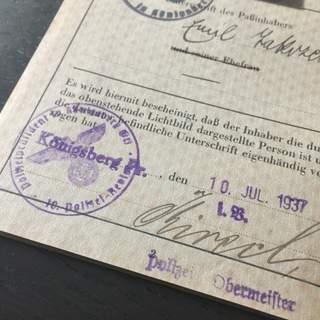 German Passport 1937 Issued In Königsberg
