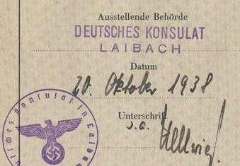 German Passport 1938 Issued At The German Consulate Ljubljana