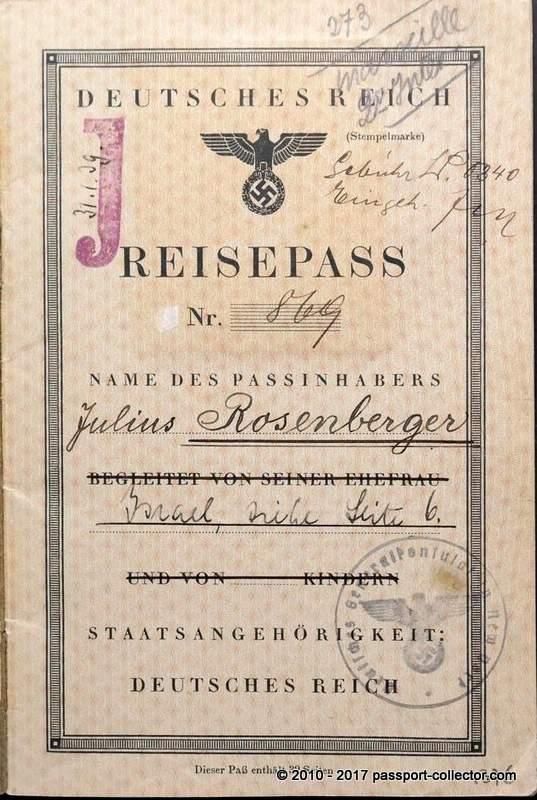 Julius Rosenberger's J-stamped passport
