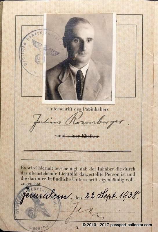 Julius Rosenberg passport - Jerusalem 22 Sep 1938