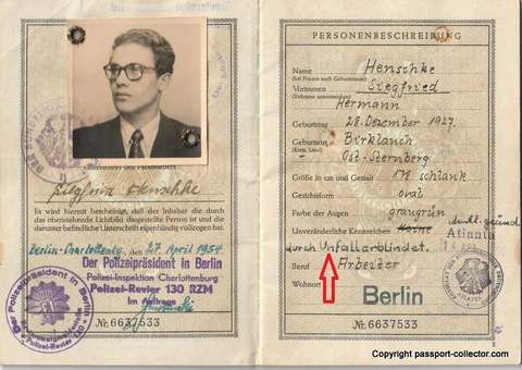 Federal German Passport 1954 with unusual entry