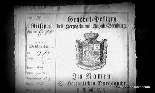 Very rare Principality of Anhalt-Bernburg passport