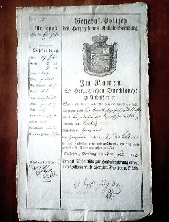 Principality Anhalt-Bernburg passport
