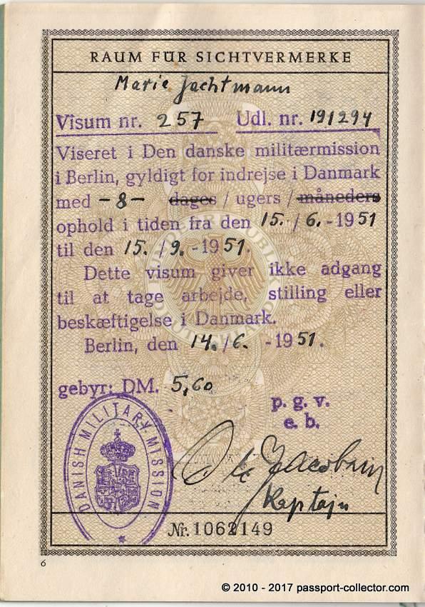 Passport Danish Military Mission