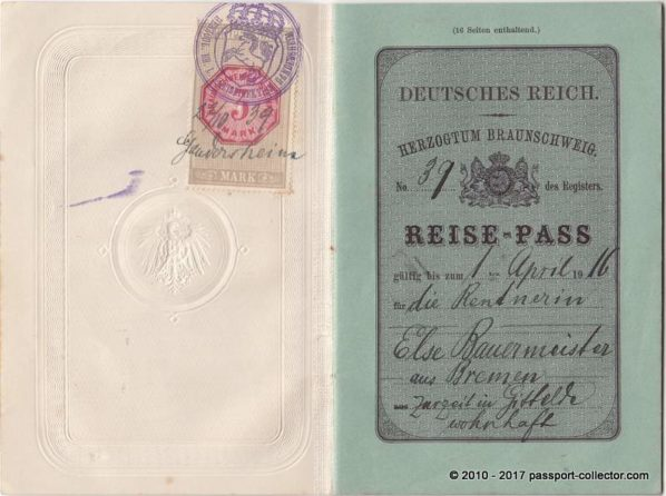 Beautiful German Empire Passport Braunschweig 1915