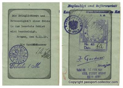 Bremen passport 1919 shows travel to occupied territories