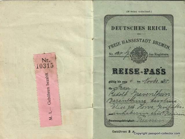 Bremen passport 1919 occupied territory