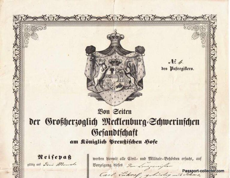 Mecklenburg-Schwerin Consular Passport 1858