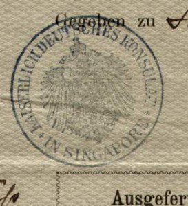 German Empire Passport Issued 1892 Singapore