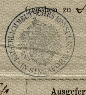 German Empire Passport Issued 1892 in Singapore