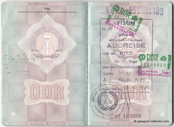 East German Passport issued in 1989 with visa from 1995