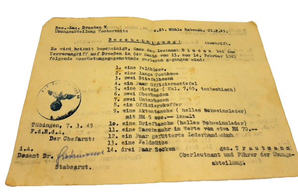 Fascinating Document German Officer