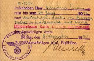 Third Reich Courier Travels On Diplomatic Passport