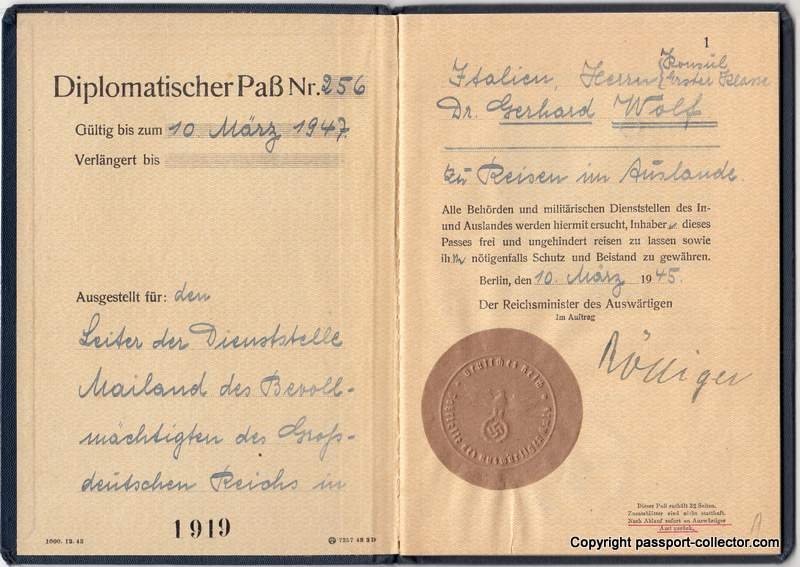 Germany diplomatic passport 1945, page 1