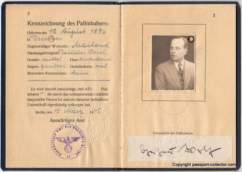 Germany diplomatic passport 1945, personal page